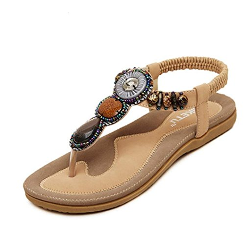 AutumnFall® Women's Sweet Summer Flats Sandals With Bohemian Beads (8, Khaki )
