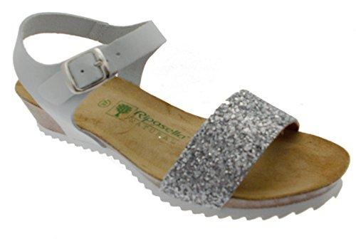 sandalo donna bianco ghiaccio aperto perline zeppa comodo art 19616 35 bianco