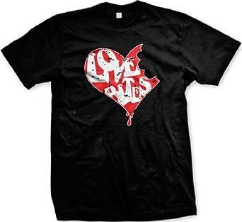 Love Bites Heart Men's T-shirt Funny Valentine's Day Design Men's Tee (BLACK, SMALL)