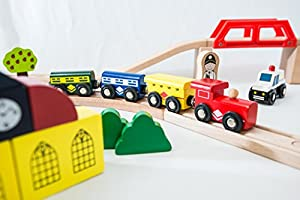 Traditional Wooden Train Set - over 100 pieces - Compatible with Brio and BigJigs Train Sets