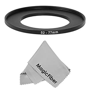 Goja 52-77MM Step-Up Adapter Ring (52MM Lens to 77MM Accessory) + Premium MagicFiber Microfiber Cleaning Cloth