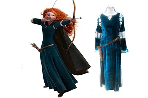 Brave Princess Merida Dress Cosplay Costume Dress Gown Outfit Bow wig