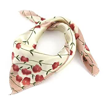 Red Flower Pattern Light Yellow Square Shape Polyester Neck Wrap Scarf for Women