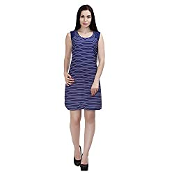 MansiCollections Women's Shift Blue Dress (42)