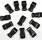 KLOUD ® 12 pcs black plastic 1-inch (25mm) flat side release buckles