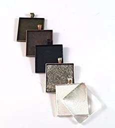 24 Deannassupplyshop 35mm inch square Pendant Trays with glass - Multicolor - 35mm - Pendant Blanks Cameo Bezel Settings Photo Jewelry - Custom Jewelry Making
