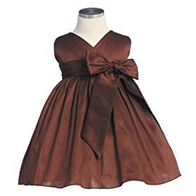 New Criss Cross Bow Dress (Red, Brown or Black) 6M to 24M