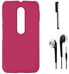 Tidel Rubberized Back Cover For Motorola Moto G Turbo Edition (Pink) With 3.5mm Handsfree Earphone & Stylus
