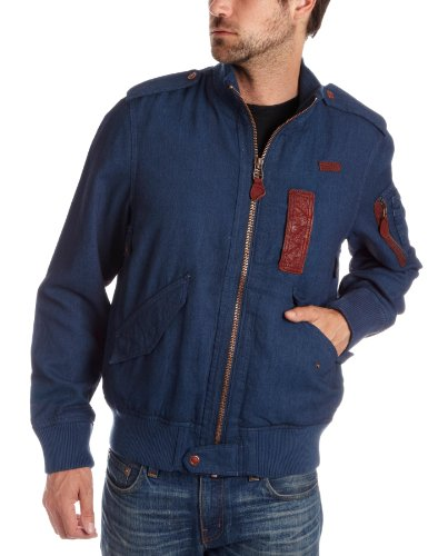 Timberland Men's Denim Bomber Jacket Blue 24494-403 Large
