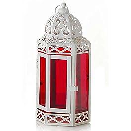 Farol hexagonal metal lacado blanco y cristal rojo (43x17.5)