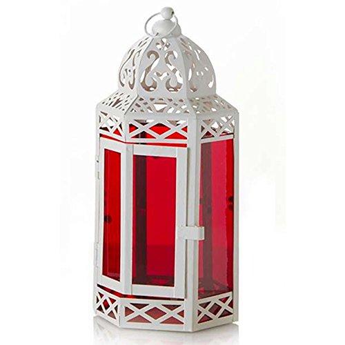 Farol hexagonal metal lacado blanco y cristal rojo (33x14.5)
