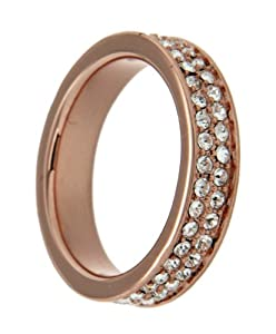Tuscany Silver Rose Gold Plated 2 Rows White Crystals Ring - Size L
