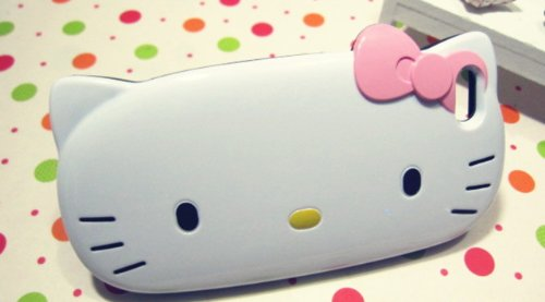 Special Sale Cute Hello Kitty case for iPhone 5 / white body+pink bowknot (Free First Class Shipping)