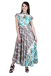 Women's Stitched Rakhi Festive Georgette Floral Printed Kurta with stylised metalic belt (Size 44)