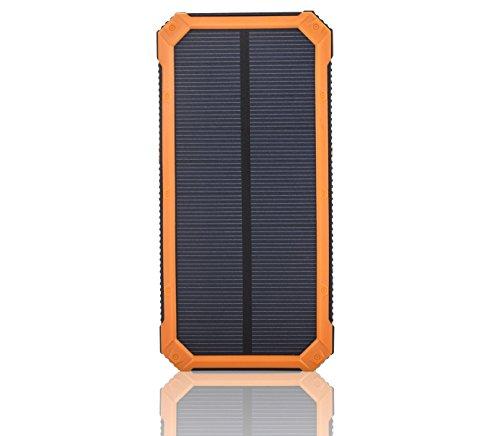 SOMAN 15000mAh 超大容量モバイルバッテリー、ソーラーパネル 頑丈で耐衝撃 2USB出力ポート 二つの充電方法 緊急防災用 旅行・ハイキングや地震・災害時が必要なもの(オレンジ)