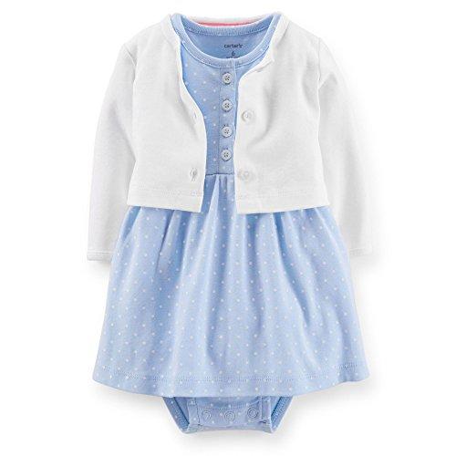 Carter's Baby Girls 2-piece Bodysuit & Cardigan Dress Set (9 Months, Light Blue Dot) (Baby Dress Light Blue compare prices)