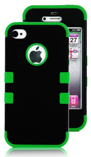 Mylife Green And Black - Flat Color Series (3 Piece Protective) Hard And Soft Case For The Iphone 4/4S (4G) 4Th Generation Touch Phone (Fitted Front And Back Solid Cover Case + Internal Silicone Gel Rubberized Tough Armor Skin) front-334115