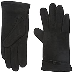Gloves International Women's Wool Blend Gloves with Bow, Black, Large/X-Large