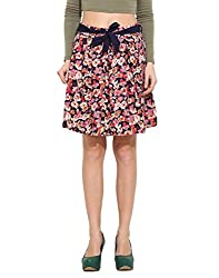 Albely Women's Poly Crape Printed Pleated Skirt