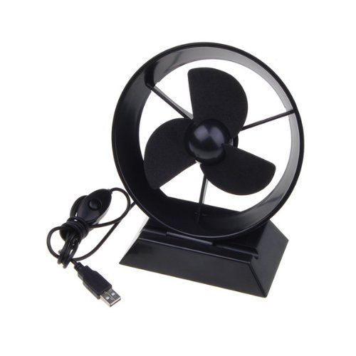 Black Powerful Super Mute Noiseless USB Powered Cooling Desk Fan