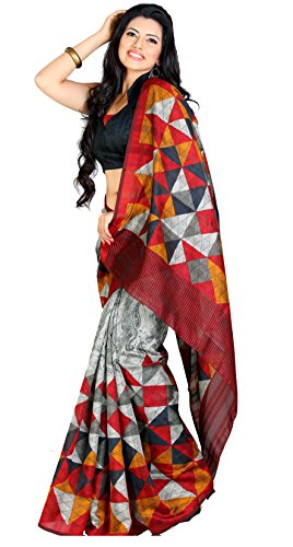 Samskruti Sarees Raw Silk Saree With Blouse Piece (Spas-31 -Grey)