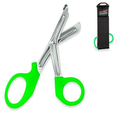 New Safety And Rescue Scuba Diver Emt Scissors Shears With Sheath - Neon Green