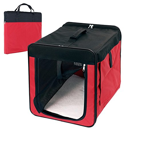 ECD-Germany-Klappbare-Transportbox-fr-Hund-und-Katze-S-420360410mm-inkl-Polster-aus-Lammfellimitat-Rot-Hundebox-Hundetransportbox-Autobox-Transporthtte