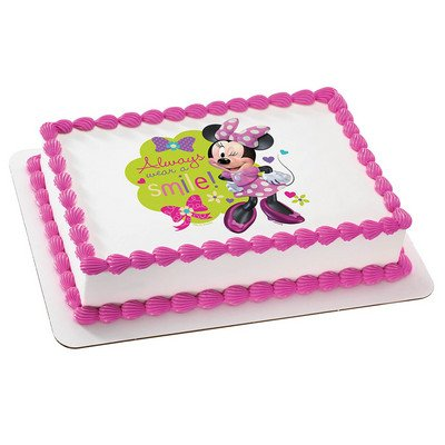 Minnie Mouse-Always Wear a Smile Edible Image Cake Topper