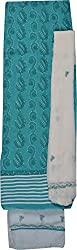 Knool Women's Cotton and Semi Chiffon Unstitched Salwar Suit (CCSEDM04SEAGRNWHIT, Seagreen and White)