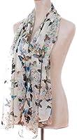 Demarkt® Chic Butterflies Print Chic Elegant Scarf -Beige White