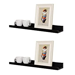 WELLAND Photo Ledge Picture Display Wall Shelf Gallery, 24 Inch x 4 Inch x 2 Inch, Set of 2, Black