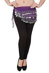 Hip Shakers Belly Dance Chiffon Hip Scarf Wrap Belt Tribal Coin Sash Silver Coins