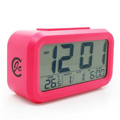 JCC Automatic Night Glow Smart Light-activated Sensor Bedside Digital Snooze Alarm Clock with Date and Temperature Display (Pink)