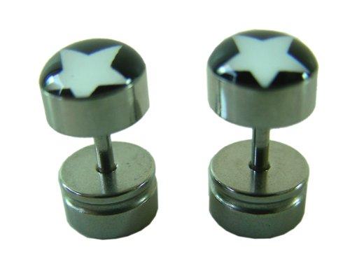 Men's fashion stud - Star design stainless steel round earrings