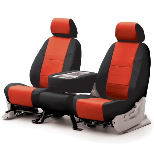 Coverking Custom Fit Front 50/50 Bucket Seat Cover For Select Bmw Z4 Models - Premium Letherrette 2-Tone (Red With Black Sides)