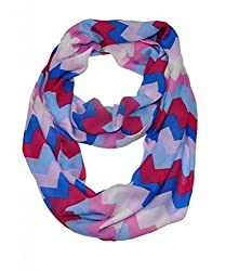 WishCart? Women's Infinity Scarf Loop Ring Light Weight Zig Zag Chevron Sheer Print,Size Bigger Then Others,Multi Color With 30 Different Colors-Blue Pink Red
