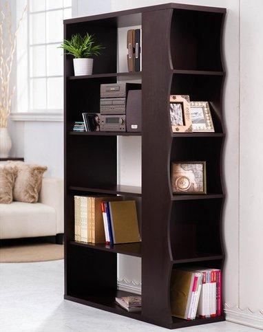 Furniture of America Sydney Modern Contemporary Walnut Living Room Display Shelf Bookcase Bookshelf Room Divider