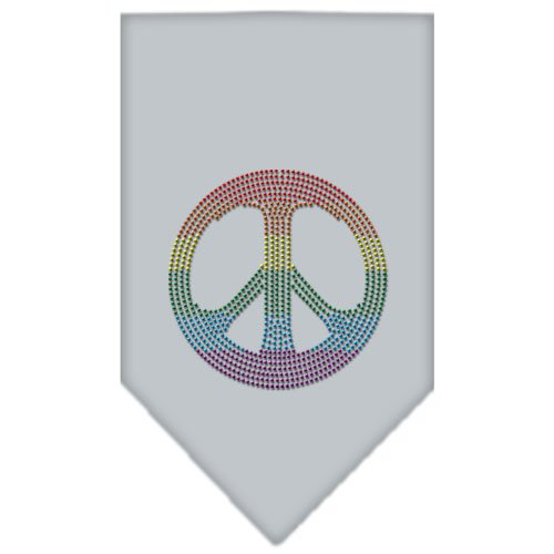 Dog Supplies Rainbow Peace Sign Rhinestone Bandana Grey Large