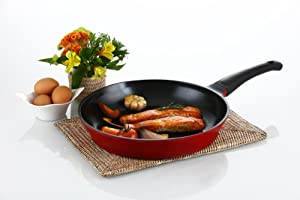 "Flamekiss 12"" Red Ceramic Coated Fry Pan by Amorè, Innovative & Elegant Design, Nano Ceramic Coating w/ Silver Ion (100% PTFE & PFOA Free) w/ Glass Lid"