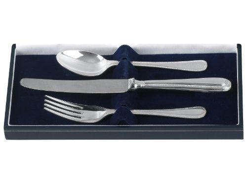 Di alta qualità, colore: argento, per bambini, set di posate, 2 pezzi, con perline, in Fine, con custodia di presentazione.