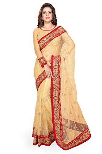 Sourbh Sarees Beige Net Saree for Women Party Wear