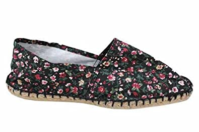 damen espadrilles flach mit blumen schwarz uk3 eu36 billig schuhe. Black Bedroom Furniture Sets. Home Design Ideas