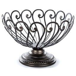 Black & Silver Round Iron Bowl on Pedestal
