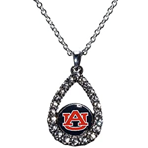Auburn Tigers Silver Tone 16 Chain with 1 Tear Drop Shaped Pendant Accented with... by Judson
