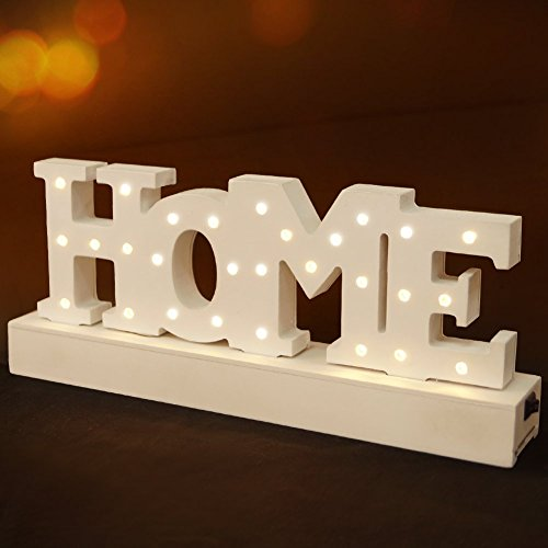 "BRIGHT ZEAL Decorative Wooden LED Letters Light ""HOME"" (11.8"" x 4.7"" x 2"", Batteries Included, White) - LED Marquee Sign Night Light - Light Up Letters and Illuminated HOME Decorations"