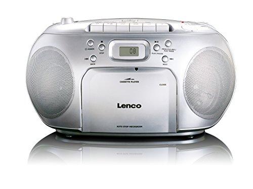 Lenco-SCD-420-Silver-Tragbares-UKW-Radio-mit-Toplader-CD-Spieler-und-Kassettendeck-LCD-Display-Wiederholungsfunktion-Auto-Stopp-Kopfhreranschluss