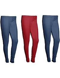 Indistar Women Cotton Legging Comfortable Stylish Churidar Full Length Women Leggings-Navy Blue/maroon-Free Size-Pack...