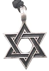 Detailed Star Of David Pewter Pendant Necklace