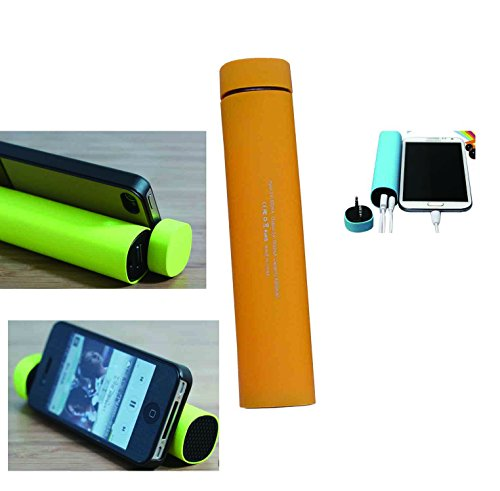 Mfine Portable Power Bank Unique Phone Stand With Mini Speaker For Iphone, Ipod, Samsung, Mobile Phones & More Devices (Orange)