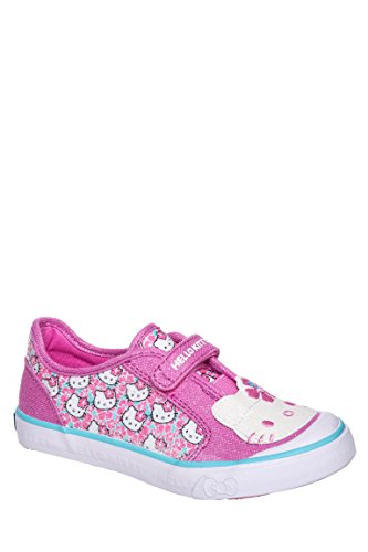 Girl's Glittery Kitty Hook And Loop Low Top Sneaker